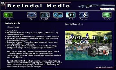 Screendump af tidligere udgave af hjemmesiden Breindal Media