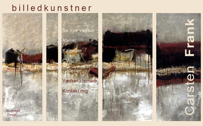 Screendump af tidligere hjemmeside for billedkunstneren Carsten Frank