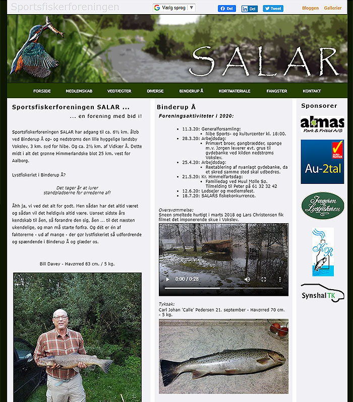 Sreendump af hjemmesiden www.salar-nibe.dk