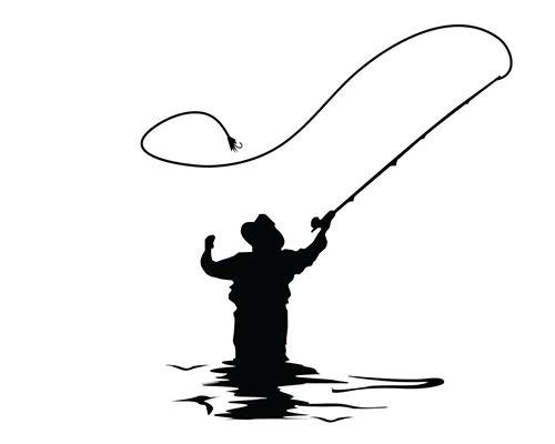 Sort/hvid grafisk gengivelse af en fluefisker.