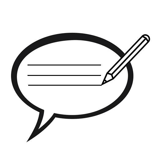 Sort/hvid grafisk gengivelse af en taleboble hvori der bliver skrevet med blyant.